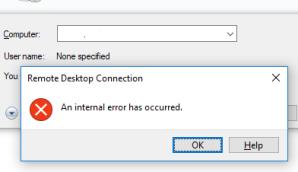 An internal error occurred – RDP | My Blog